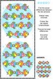 Encuentre el rompecabezas visual de las diferencias - pescado Fotografía de archivo
