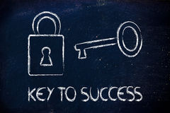 Encuentre la llave al éxito, la llave y el diseño de la cerradura Imagen de archivo