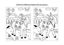 Encuentre la página visual del rompecabezas y del colorante de las diferencias con el burro que camina libre illustration