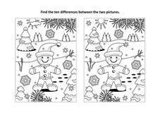 Encuentre la página visual del rompecabezas y del colorante de las diferencias con el hombre del jengibre libre illustration