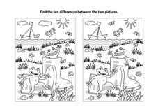 Encuentre la página visual del rompecabezas y del colorante de las diferencias con los gumboots y las ranas ilustración del vector