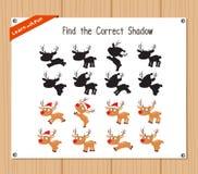 Encuentre la sombra correcta, juego de la educación para los niños - ciervos de la Navidad Imágenes de archivo libres de regalías