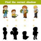 Encuentre la sombra correcta, juego para los niños, alumnos ilustración del vector