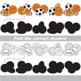 Encuentre la sombra correcta para cada objeto, el juego del sistema Foto de archivo libre de regalías