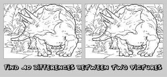 Encuentre las diez diferencias entre las dos im?genes y p?ginas del colorante dinosaurio divertido de la historieta Rompecabezas  stock de ilustración