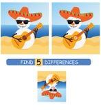 Encuentre las diferencias entre las imágenes Juego educativo de la historieta del vector Muñeco de nieve lindo en un sombrero y c libre illustration