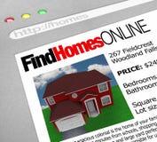 Encuentre los hogares en línea - pantalla del Web Imagen de archivo