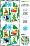 Encuentre rompecabezas de las diferencias de la representación visual de la Navidad o del Año Nuevo Foto de archivo libre de regalías