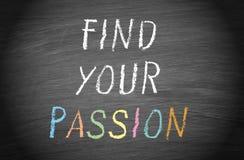 Encuentre su pasión - mande un SMS en la pizarra o la pizarra stock de ilustración