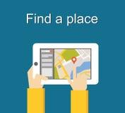 Encuentre un diseño plano del ejemplo del concepto del lugar Concepto del lugar de la búsqueda Usando el artilugio para buscar la Foto de archivo libre de regalías