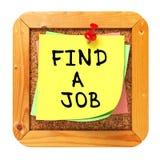 Encuentre un trabajo. Amarillee la etiqueta engomada en boletín. Imagenes de archivo