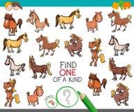 Encuentre uno de una clase con los caracteres del animal del caballo stock de ilustración