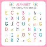 Encuentre y circunde cada letra C Hoja de trabajo para la guardería y el preescolar Ejercicios para los niños Fotos de archivo libres de regalías