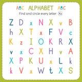 Encuentre y circunde cada letra X Hoja de trabajo para la guardería y el preescolar Ejercicios para los niños Imagenes de archivo