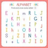Encuentre y circunde cada letra I Hoja de trabajo para la guardería y el preescolar Ejercicios para los niños Imágenes de archivo libres de regalías
