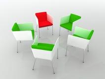 Encuentro de las sillas. representación 3d Foto de archivo libre de regalías
