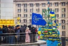 Encuentro para la integración europea en el centro de Kiev Fotos de archivo