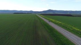 Encuesta aérea coche negro que se mueve a lo largo de la carretera entre campos verdes almacen de metraje de vídeo