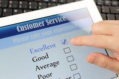 Encuesta sobre en línea el servicio de atención al cliente Imagen de archivo libre de regalías