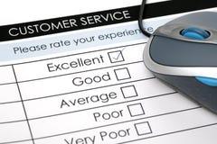 Encuesta sobre en línea la satisfacción del servicio de atención al cliente Imagen de archivo