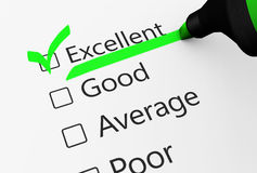 Encuesta sobre excelente el servicio de atención al cliente de la calidad ilustración del vector