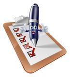 Encuesta sobre la persona y el tablero de la pluma stock de ilustración