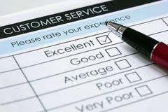 Encuesta sobre la satisfacción del servicio de atención al cliente Imágenes de archivo libres de regalías