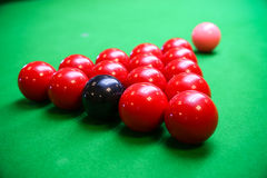 Encurralar a bola na tabela de sinuca, no jogo na tabela verde, esporte internacional da sinuca ou da associação imagens de stock royalty free