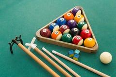 Encurralar bolas de associação dos billards, sugestão, giz na tabela verde foto de stock