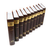 Encyclopedia. Set - 10 heavy book tomes isolated royalty free stock images