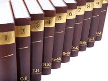 Encyclopedia. Set - 10 heavy book tomes isolated stock photo