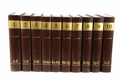 Encyclopedia. Set - 10 heavy book tomes isolated stock photography