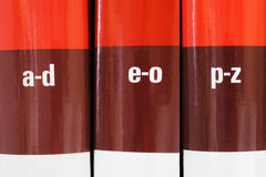 Encyclopedia books in row Royalty Free Stock Photo