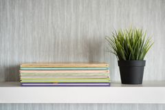 Encyclopedia books on white shelf with plant in a vase. Get organized concept. interior design concept stock photo