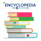 Encyclopedia Pile Vector. Books Stack With Bookmarks. Science, Learning Concept. Dictionary, Literature Textbook Icon. Isolated Illustration Royalty Free Stock Image