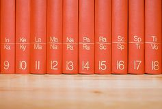 Encyclopedia in a Wooden Bookshelf. Close view on red books standing in a wooden bookshelf Royalty Free Stock Image
