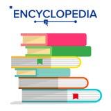 Encyklopedihögvektor Bokbunt med bokmärker Vetenskap som lär begrepp Ordbok litteraturläroboksymbol vektor illustrationer