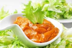 Endívia com molho do romesco, uma salada típica da escarola de Catalon Fotos de Stock