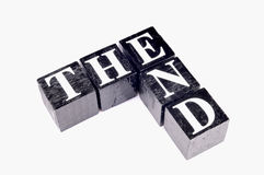 The end. Written with black blocks royalty free stock photos