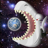 The end. Big fish wants to eat the Earth stock illustration