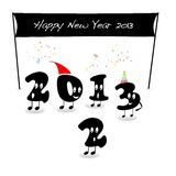 End 2012. Illustration with happy new year 2013 Royalty Free Stock Photography