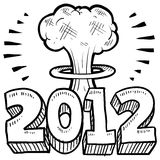 End of 2012 sketch. Doodle style Goodbye 2012 New Year's Eve sketch in vector format. Includes 2012 text and cartoon mushroom cloud Stock Image