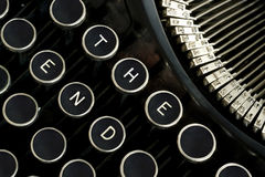 The End Spelled on Vintage Typewriter Keys Stock Images