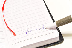 The end. The word end on a white background Royalty Free Stock Photo