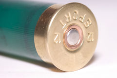 End. Closeup of end of shotgun cartridge stock photos
