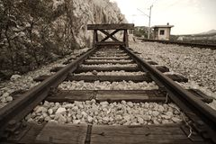 The end. End of the railroad. Toned image Royalty Free Stock Photos