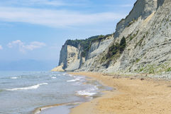 End of the agios Stefanos beach at Corfu Greece. End of the sandy agios Stefanos beach at Corfu Greece Royalty Free Stock Images