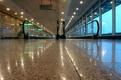 End of airport moving walkway Royalty Free Stock Photography