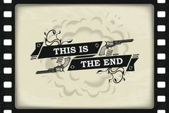 This is the end banner. Retro cinema style picture with guns and roses on cine-film background. Vector eps 10 Royalty Free Stock Photo