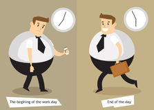 The end and the beginning of the working day. Flat illustration stock illustration
